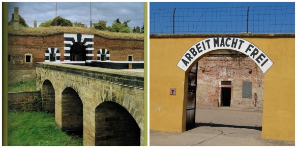 """L. Entrance to the """"Small Fort""""    R. Entrance to the Gestapo Prison."""