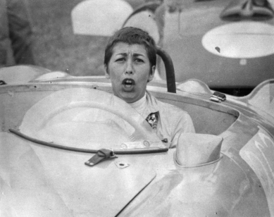 Ruth Levy from a race at Elkhart Lake, 1957 giving the photographer a bad time. From her collection.