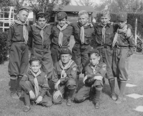 Cub Scouts ca 1943: Me standing 2nd from left. Jim Henrikson, kneeling left. Ralph Kehle kneeling right.